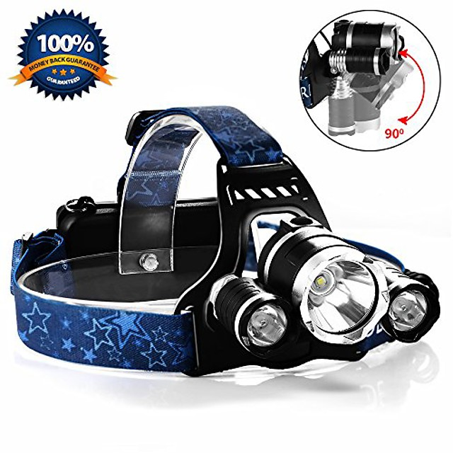 zoomable 4 modes 5000 lumens waterproof led headlamp led headlights with 2 rechargeable batteries and car charger for biking camping hunting running and other activities