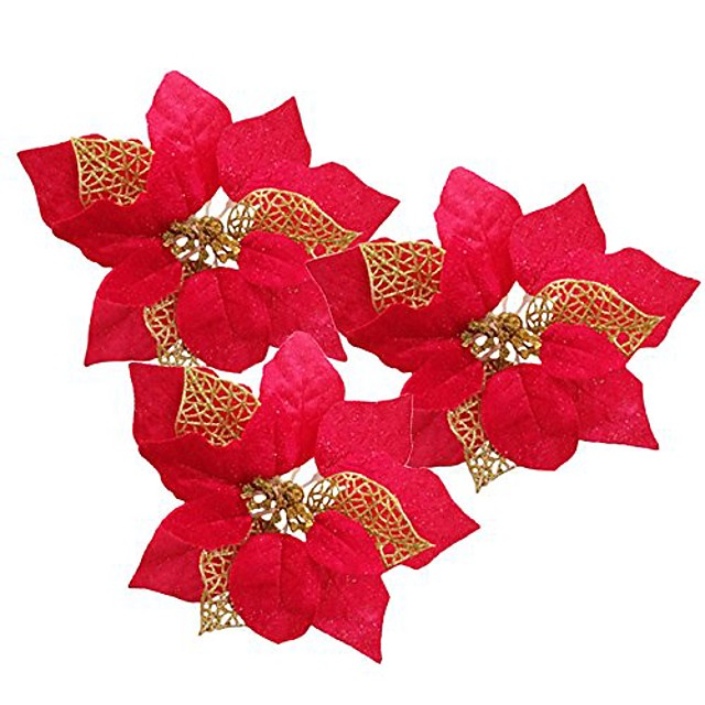 pack of 12 glitter artificial wedding christmas flowers glitter poinsettia christmas tree ornaments (red)