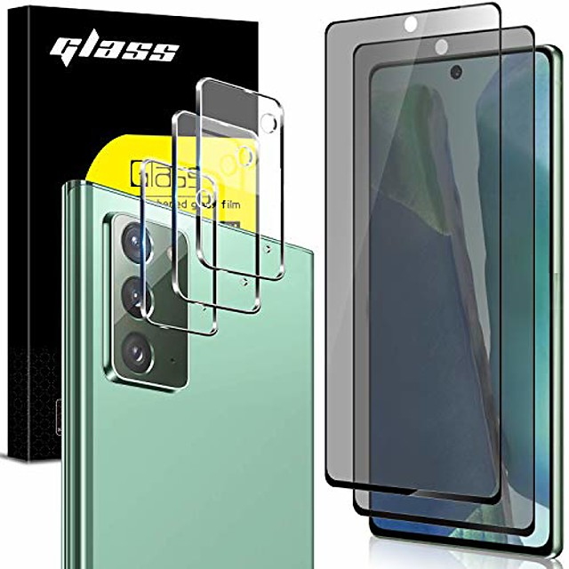 [3 pack] camera lens protector and [2 pack] privacy screen protector for samsung galaxy note 20 / note 20 5g, [full coverage] [case friendly] [super clear] anti-spy 9h hardness tempered glass