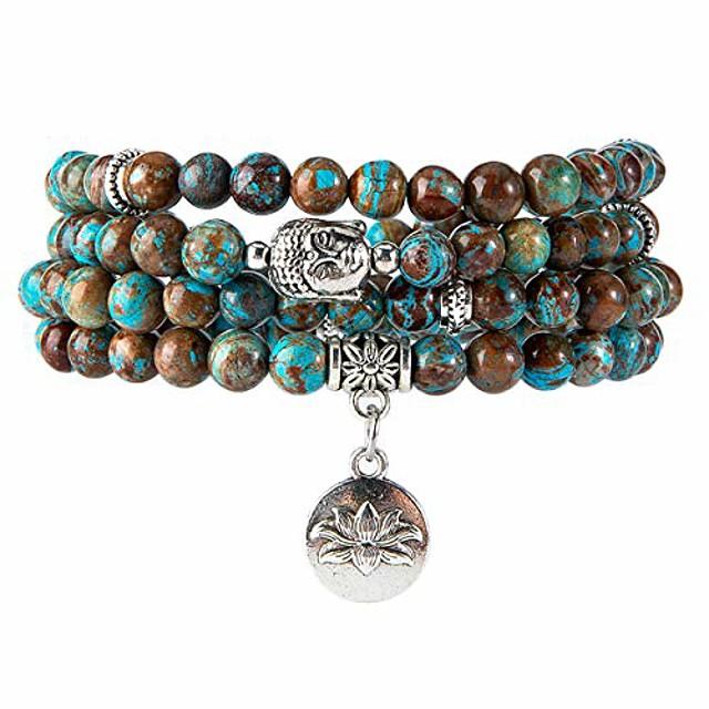 108 mala beads bracelet - genuine gemstone mala prayer beads lotus charm meditation necklace (agate)