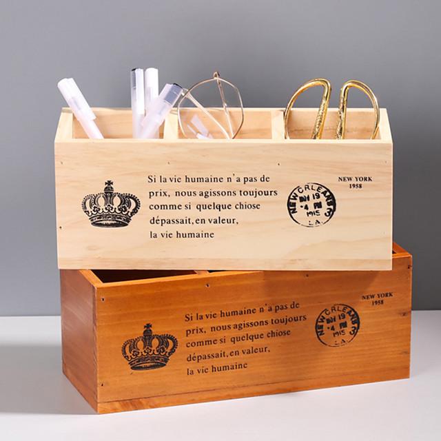 Antique Wooden Box Rectangular Solid Wood Three Lattice Pen Holder Desktop Storage Box Wooden Remote Control Storage