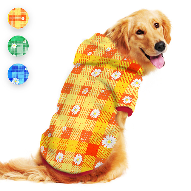 Dog Hoodie Plaid Daisy Cute Casual / Daily Dog Clothes Puppy Clothes Dog Outfits Breathable Yellow Blue Green Costume for Girl and Boy Dog Polyster S M L XL