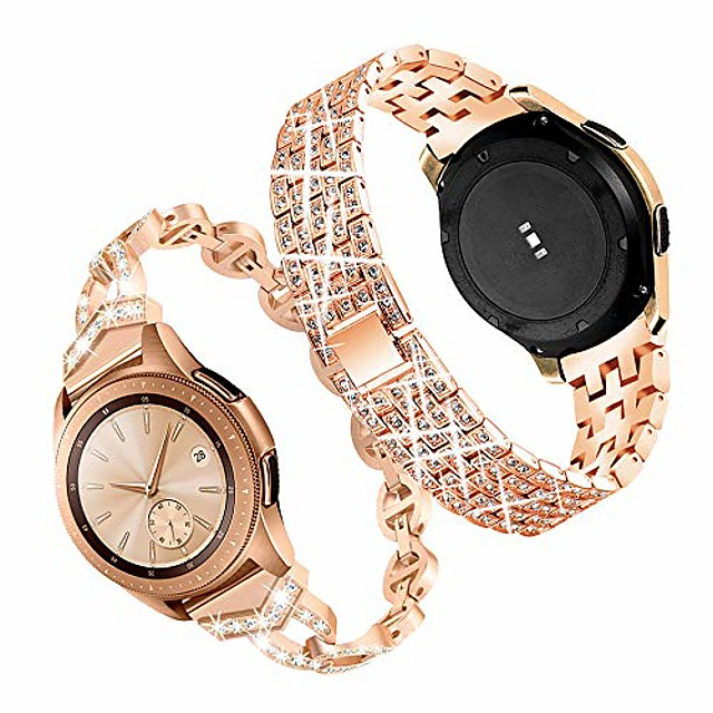 compatible for galaxy watch 42mm band,20mm women bling stainless steel metal replacement bracelet strap for samsung galaxy watch 42mm/active/active2 40mm 44mm(2 pack) (rose gold)