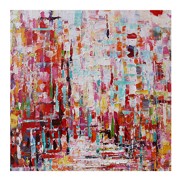 Oil Painting Hand Painted Square Abstract Landscape Comtemporary Modern Stretched Canvas