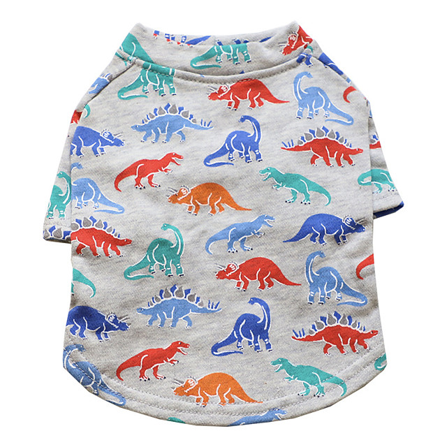 Dog Shirt / T-Shirt Dinosaur Fashion Cute Casual / Daily Winter Dog Clothes Puppy Clothes Dog Outfits Breathable Gray Costume for Girl and Boy Dog Cotton S M L XL