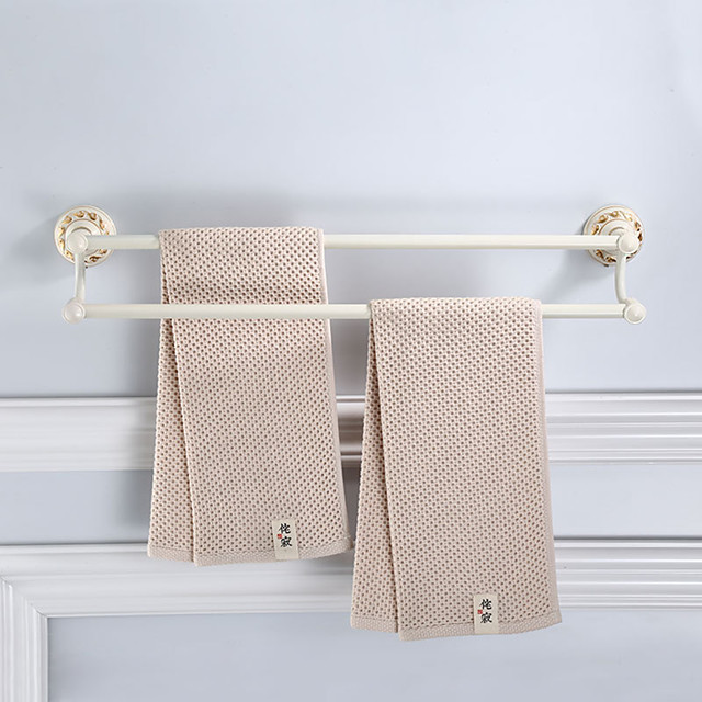 White Bathroom Towel Bar 2 Layers Multifunctional Towel Rack with Golden Carved Pattern Aluminum Material Wall Mounted 1pc