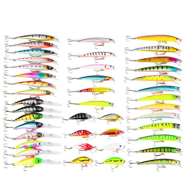 43 pcs Lure kit Fishing Lures Minnow Crank Popper Vibration / VIB Lure Packs Bass Trout Pike Bait Casting