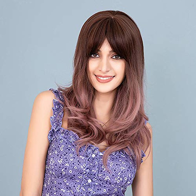 ombre brown wig with bangs for women brown ombre pink long wavy curly hair wigs with bangs natural looking synthetic heat resistant wig for daily party halloween 22