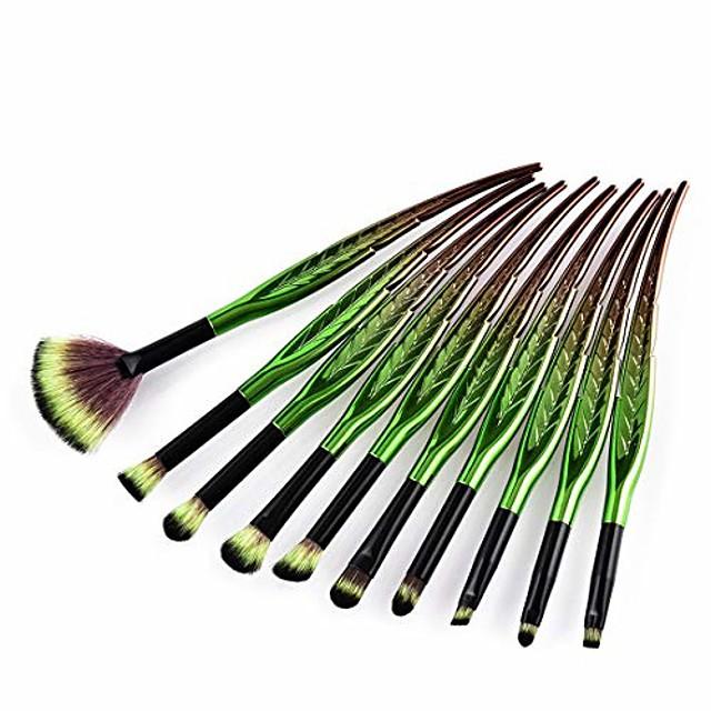 makeup brush set leaf shape makeup brush set tools make-up toiletry kit nylon cosmetic brush eye brush 10pcs (color : 10-piece)