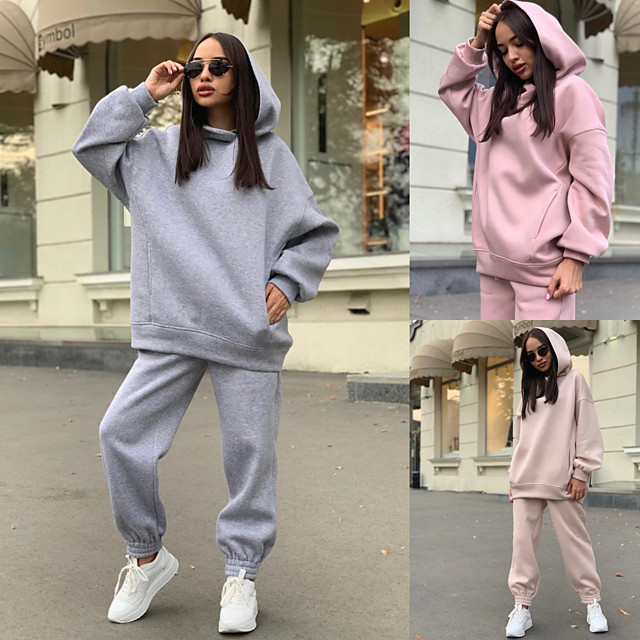 Women's 2 Piece Tracksuit Sweatsuit Street Athleisure Long Sleeve Breathable Soft Fitness Gym Workout Running Jogging Training Sportswear Oversized Solid Colored Hoodie White Purple Black Pink Khaki
