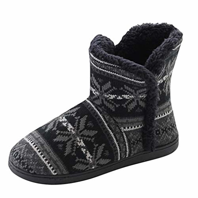 home boots soft warm men's slipper boot winter casual home shoes with memory foam sole