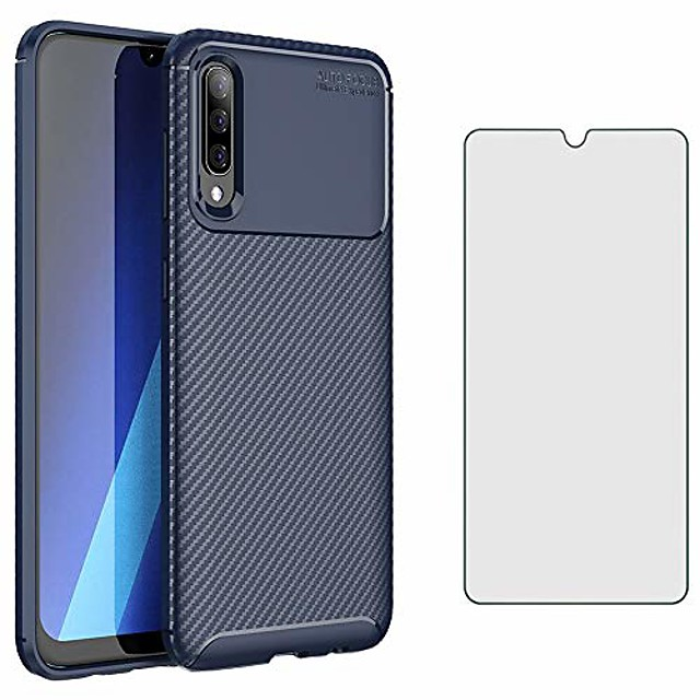 phone case for samsung galaxy a50 with tempered glass screen protector cover and cell accessories slim thin rugged tpu silicone rubber bumper glaxay a 50 gaxaly s50 50a sm a505g cases women men blue