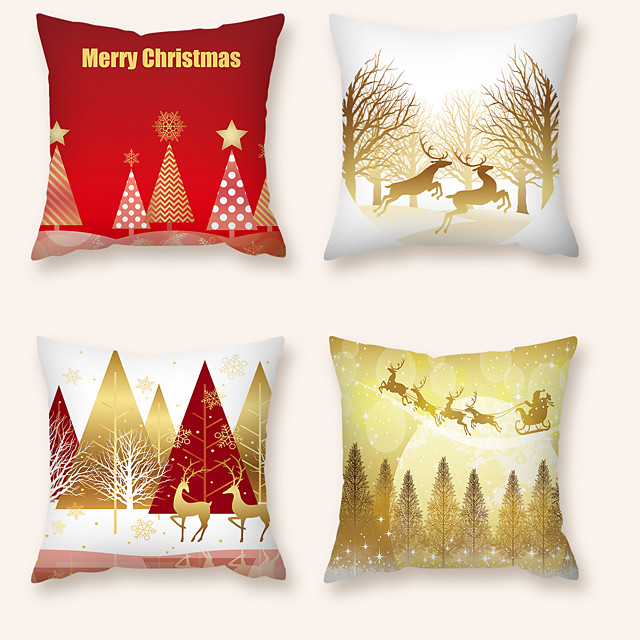 Cushion Cover 4PCS Christmas Party Decoration Christmas Gift Short Plush Soft Decorative Square Throw Pillow Cover Cushion Case Pillowcase for Sofa Bedroom 45 x 45 cm (18 x 18) Superior Quality