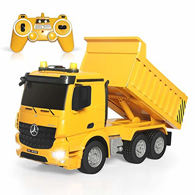 remote control dump truck 4wd 8 channel full function construction toy vehicle machine model with lights and sounds, 1/20 scale rechargeable rc truck for kids, gifts for boys girls