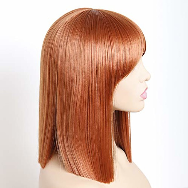 bob straight wigs synthetic short orange wig with bangs natural looking heat resistant fiber hair for women (orange)