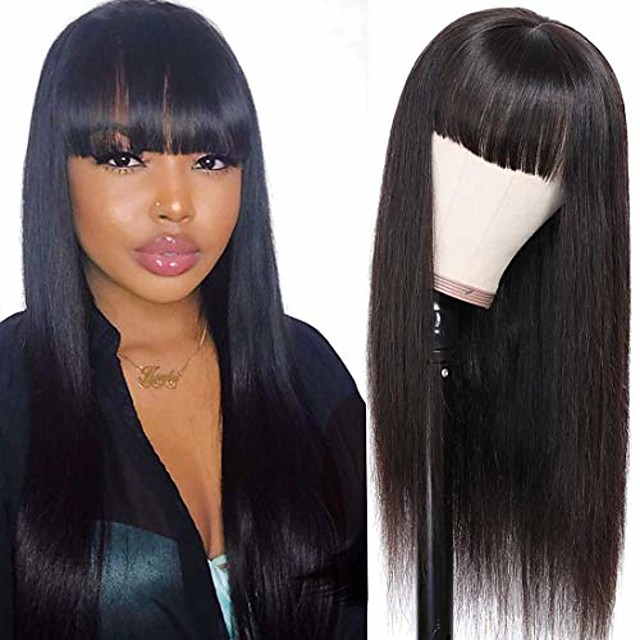 straight wigs with bangs brazilian virgin with elastic bands natural black color wig for women (14inch)