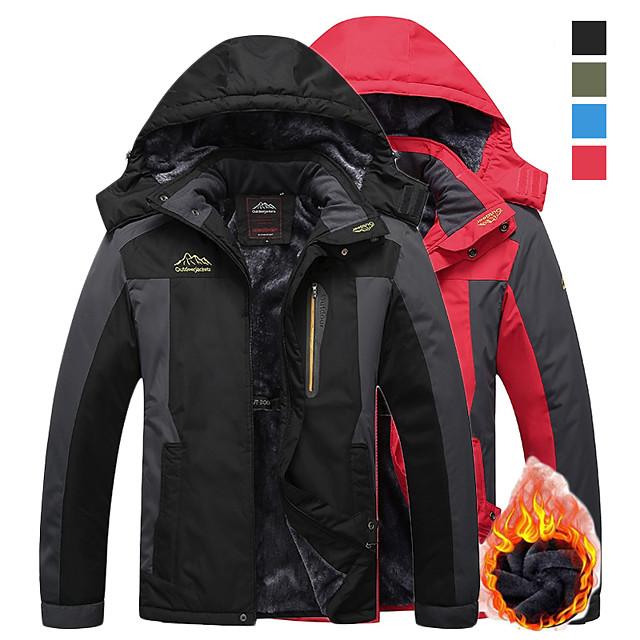 Men's Hiking Fleece Jacket Ski Jacket Windbreaker Winter Outdoor Thermal Warm Windproof Breathable Rain Waterproof Hoodie Winter Jacket Coat Top Skiing Camping Casual Hunting Fishing Black
