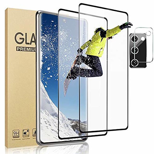 2 in 1 Samsung Galaxy S21 5G S21 Ultra Screen Protector, 9H Tempered Glass With Camera Lens Protector, 3Dcurved Full Coverage Fingerprint HD Glass Film For Samsung Galaxy S20 Plus S20 FE 5g S10 Plus