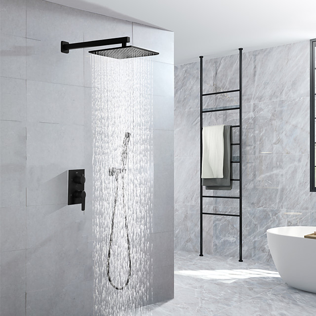 16 Inch Black Shower Faucets Sets Complete with Rainfall Shower Head Ceiling Mounted Shower Head System(Contain Shower Faucet Rough-in Valve Body and Trim)