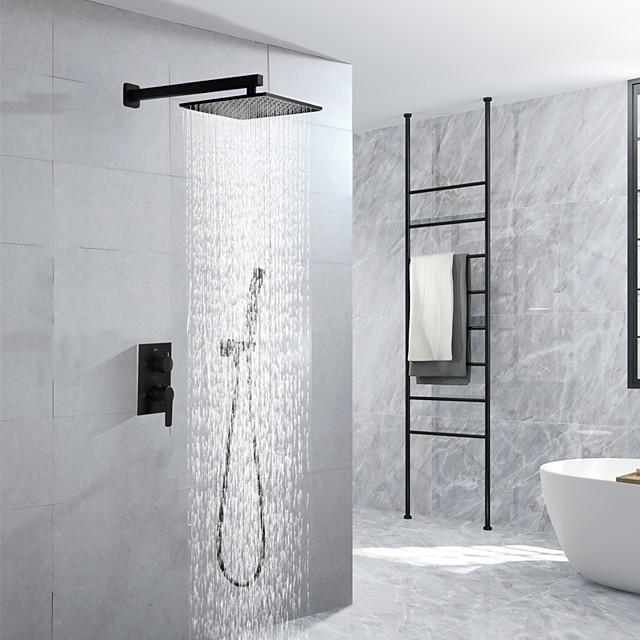 16 tommers sorte dusjkraner sett komplett med regndusjhode takmontert dusjhode system (inneholder dusjkran tøff ventilkropp og trim)