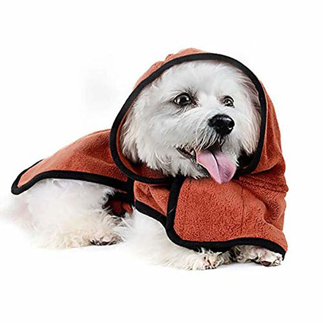 pet paw bathrobe fast dry pet bath towel, quickly absorbing water bath robe, for small medium large dogs,brown,xs