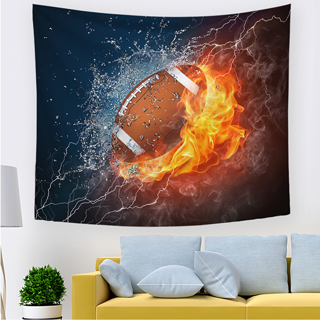 Wall Tapestry Art Decor Blanket Curtain Picnic Tablecloth Hanging Home Bedroom Living Room Dorm Decoration Polyester Novelty Modern Thunder Fire Rugby