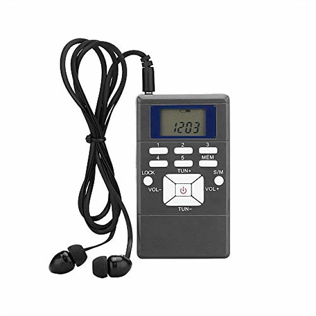 portable fm stereo radio with earphones pocket mini digital tuning lcd display for walking, running, operated by 2 aaa battery (not included)