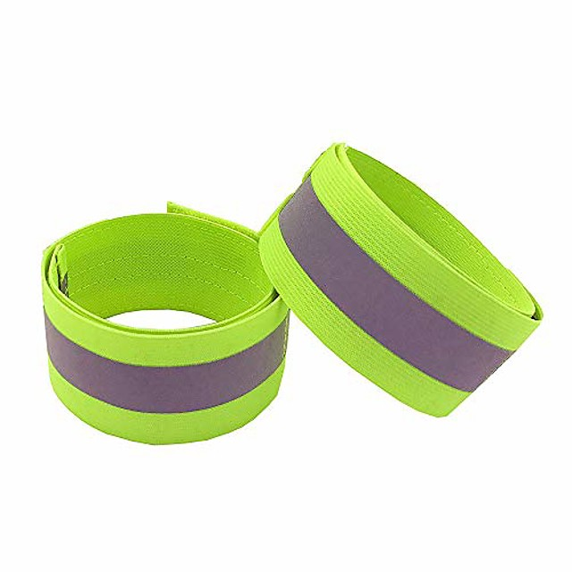 reflective armband wristbands belt strap, reflective ankle bands, high visibility and safety for jogging, walking, cycling - works as wristbands,armband,leg straps,outdoor sports 1pc (green)