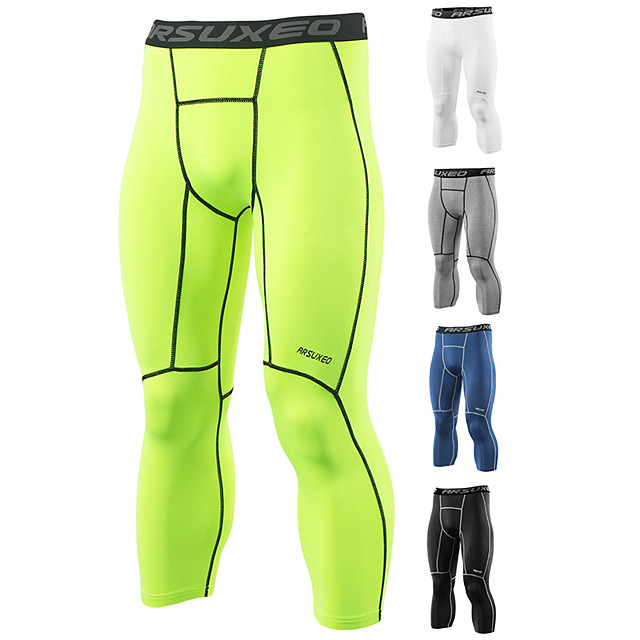 Arsuxeo Men's Running Tights Leggings Compression Pants Athletic 3/4 Tights Base Layer Leggings Spandex Fitness Gym Workout Running Jogging Exercise Quick Dry Moisture Wicking Soft Plus Size Sport