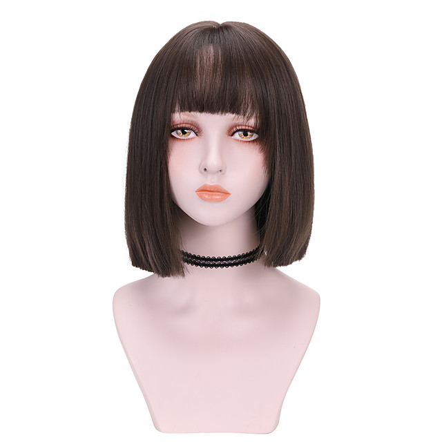 Synthetic Wig Straight With Bangs Wig Medium Length Brown Blue Black Synthetic Hair 12 inch Women's Cool Comfy Blue Brown