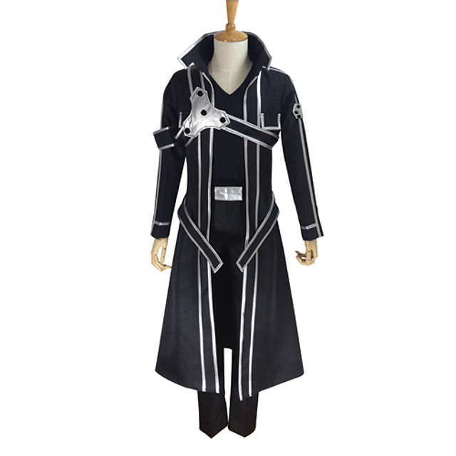 Inspired by SAO Swords Art Online Kirito Anime Cosplay Costumes Japanese Cosplay Suits Solid Colored Long Sleeve Coat Pants Gloves For Men's Women's / T-shirt / Belt / Strap