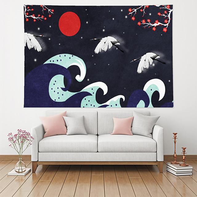 Japanese Painting Style Ukiyo-e Wall Tapestry Art Decor Blanket Curtain Hanging Home Bedroom Living Room Decoration Polyester Mountain Sun Sea Wave Plant