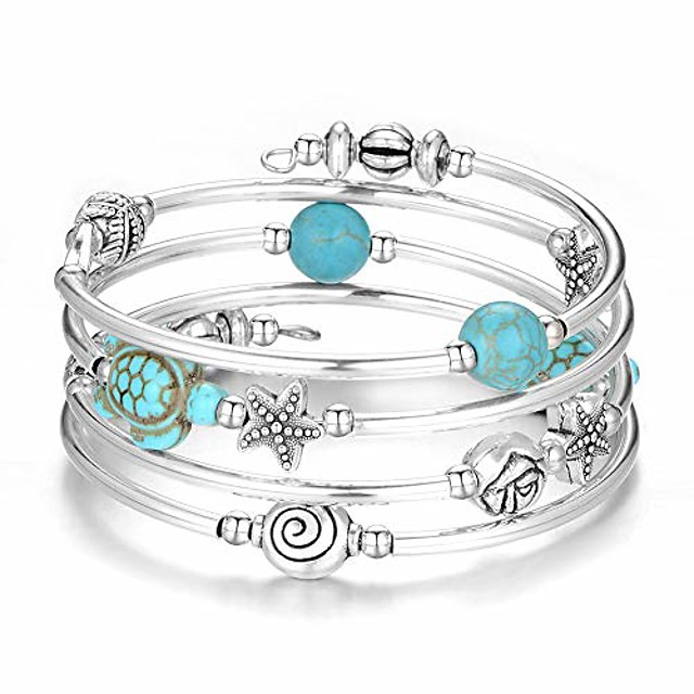 layered wrap bangle turquoise bracelet - bead bracelet with natural agate stone, gifts for women (18-turquoise blue turtle bracelet)
