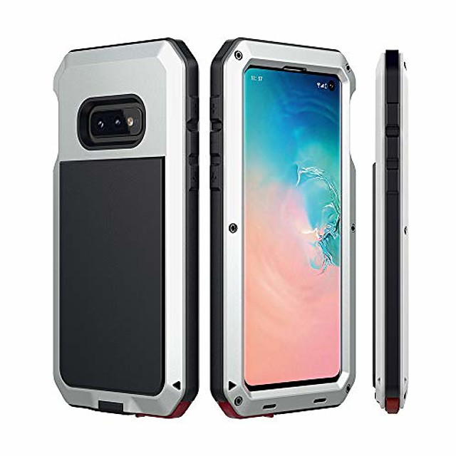 galaxy s10e case  aluminum metal bumper frame case silicone water resistant shockproof tempered glass screen protector outdoor sports protective case for samsung galaxy s10e (2019) - silver