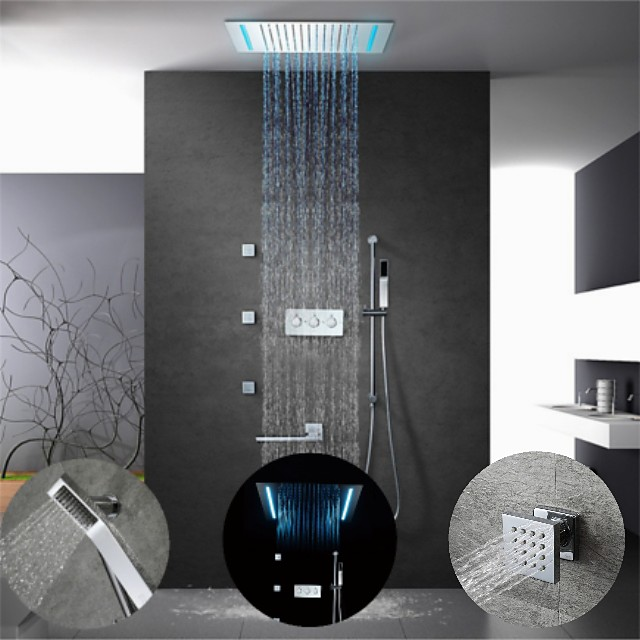 500*360 Chrome/16-Color LED Shower Faucets Sets Complete with Solid Brass Handshower, Ceiling Mounted Rainfall Shower Head, Rotary Nozzle and 3 Massage Body Jet, Easy Installation