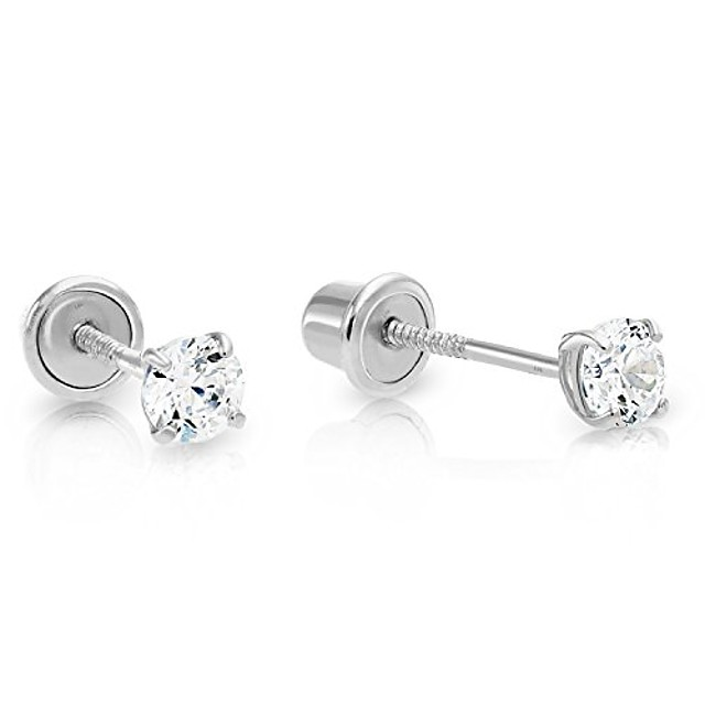 14k white gold solitaire cubic zirconia cz stud earrings with secure screw-backs (3mm)