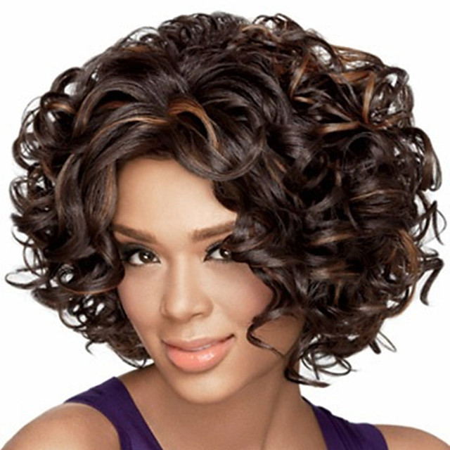 Synthetic Wig Afro Curly Bouncy Curl Middle Part Wig Short Light Brown Dark Brown Black / Brown Synthetic Hair Women's Soft Elastic Fluffy Mixed Color