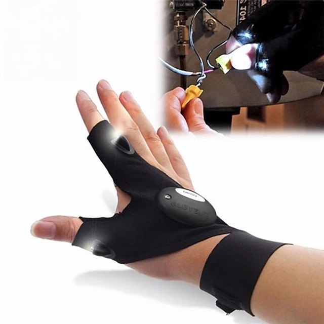 Outdoor Night Fishing Magic Right Strap Fingerless Glove LED Flashlight Torch Cover Survival Camping Hiking Rescue Tool