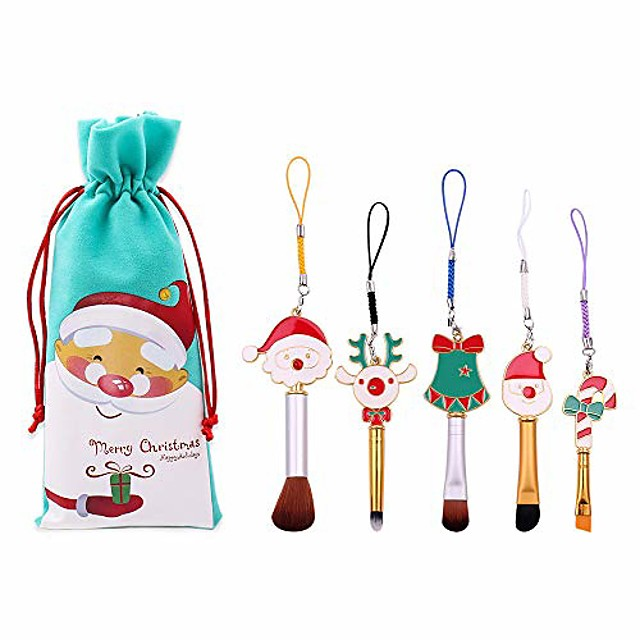 makeup brush set  5pcs soft synthetic fiber christmas theme cosmetic brushes with pouch blush concealer eyebrow eyeshadow high gloss brush
