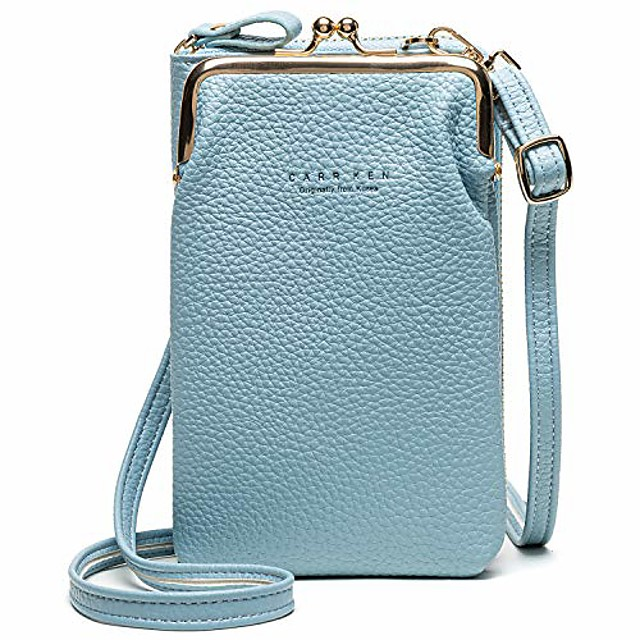 women cross-body pu leather wallet large capacity with card slots adjustable detachable shoulder strap for cell phones under 7 inches bag, (blue), m