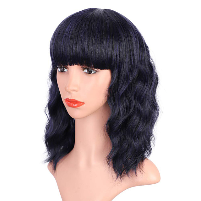 Pink Wig with Bangs Colored Wigs for Women Girls Pastel Wavy Bob Wig Heat Resistant Synthetic Wig Shoulder Length Party Cosplay Use