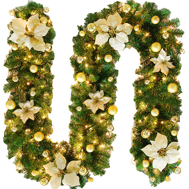 2.7M Christmas Rattan Garland Decorative Green Christmas Garland Artificial Xmas Tree Rattan Banner Decoration