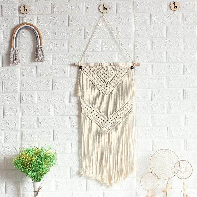 Hand Woven Macrame Wall Tapestry Bohemian Boho Art Decor Blanket Curtain Hanging Home Bedroom Living Room Decoration Nordic Handmade Tassel Cotton