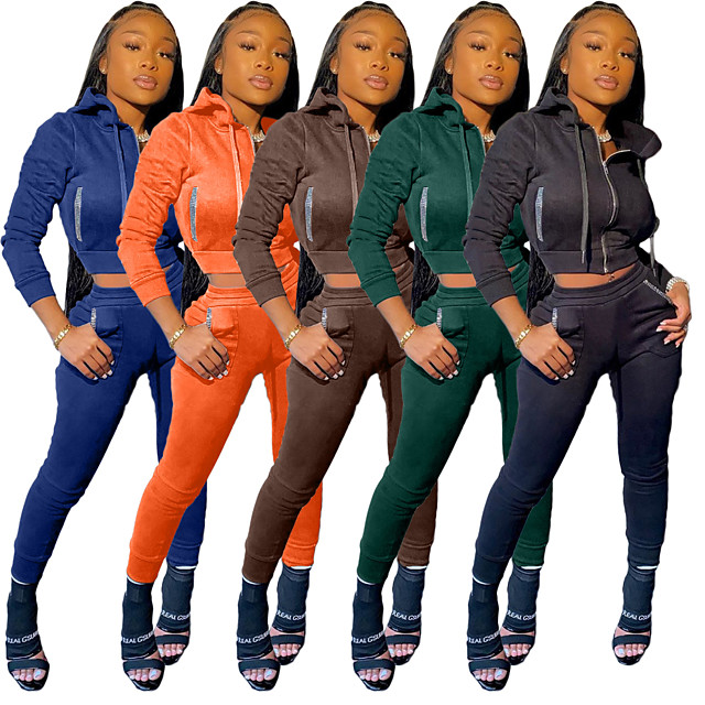 Women's 2 Piece Full Zip Tracksuit Sweatsuit Street Casual 2pcs Long Sleeve High Rise Elastane Lightweight Breathable Soft Gym Workout Running Active Training Jogging Exercise Sportswear Solid Colored