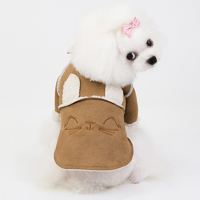 Dog Coat Jacket Rabbit / Bunny Elegant Cute Casual / Daily Winter Dog Clothes Puppy Clothes Dog Outfits Breathable Brown Costume for Girl and Boy Dog Fleece S M L XL XXL