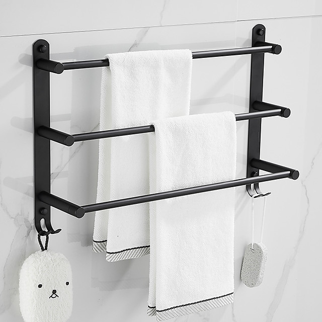 Towel Rail Rack Rack Modern Fashion Wall-Mounted Bar Bathroom Storage Finishing Multi-Layer 304 Stainless Steel Multi-Function Bathroom with Hook