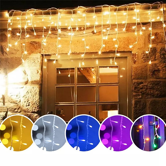 1X 4M 96Leds Xmas Colorful Icicle LED Fairy String Light Flashing Lighting Curtain Light IP65 Waterproof Outdoor Holiday Party Connectable Wave Flexible Lights AC110V 120V 220V 230V 240V EU US Plug