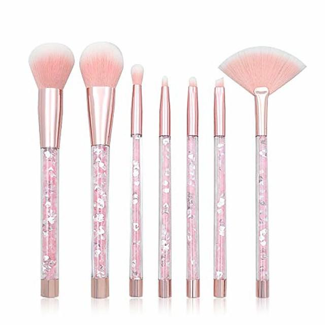 women makeup brushes set, transparent crystal handle and artificial fiber brushes, 7 pieces per set