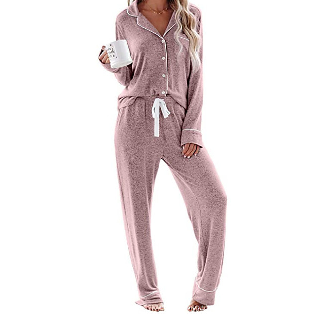 Women's Home Cotton Normal Pant V Neck Loungewear Full Body Print Spring, Fall, Winter, Summer Printing S White