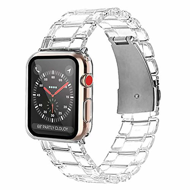 compatible apple watch band 42mm with case screen protector, sport bands replacement strap full protective case for iwatch series 3 series 2 series 1 (crystal clear)